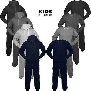 Junior Tracksuit Set Fleece Hoodie Top Bottom Jogging Kids Boys 5 to 13 Age