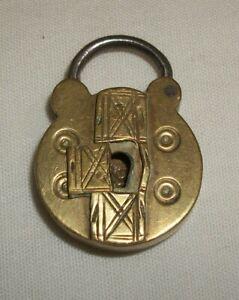 Small Antique Ornate Brass Padlock Hidden Keyhole No Key Vintage