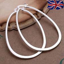 925 Sterling Silver U Hoop Earrings XL Large Smooth Flat Free Gift Bag UK