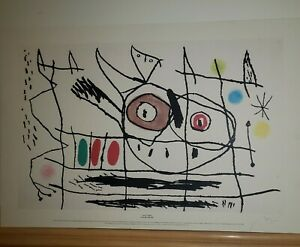 "Joan Miro ""Pair Of Birds"" Signed 24"" x 36"" Limited Edition Etching #50/50"