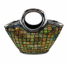 "Decorative Ceramic & Glass Purse Vases, 10 3/4"" x 5 1/4"" x 9.5""(H) DMCV003"
