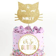 Customised cat Cake Topper, Personalised halloween cake custom age name kitty