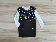 H&M Mädchen Kleid Monster schwarz + gratis Shirt weiß, Gr. 134/140, top!