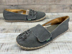 Sanuk Gray Embroidered Loafers Flats Women's sz 6