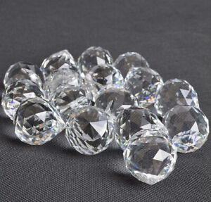 20Pcs 40mm Clear Crystal Ball Prism Lighting Pendant Parts Glass Lamp Chandelier