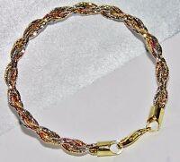 9ct Yellow & Rose Gold on Silver Fancy Ladies Rope Bracelet - UK Hallmarked