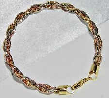 Beautiful 9ct Yellow & Rose Gold on Silver Fancy Ladies Rope Bracelet