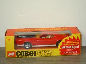 Ford Mustang Mach 1 James Bond - Corgi Toys Whizzwheels 391 England Boxed *53543