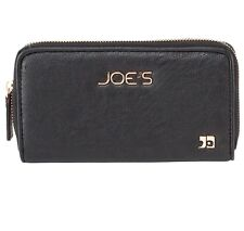 Joe's Jeans Autograph Continental Zip Around Wallet Black Vegan Leather New NWT
