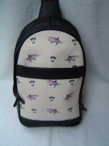 AUTHENTIC COACH SHARK PRINT COATED CANVAS AND LEATHER SLING PACK #29030 EUC