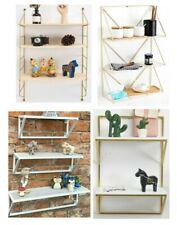 Wall Shelf Black Gold Metal Bookcase Toy Book Storage Shelving Display Children