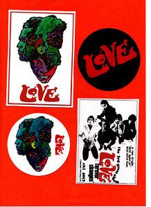 LOVE. 4 STICKER SET. ARTHUR LEE. FOREVER CHANGES. Psychedelia.
