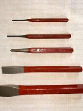 Craftsman USA cold steel chisel set red handle RARE NOS FREE SHIP