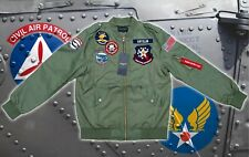 MA-1 Flight Sage Green Jacket USAF Civil Air Patrol Aviation Patches.