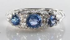 9 Carat Sapphire White Gold Vintage Fine Jewellery