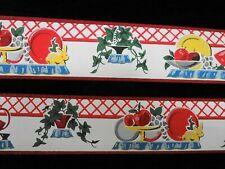 """Vntg 1930's Kitchen Shelf 3"""" Wallpaper Border Duro Vibrant 635A Vibrant Colors"""