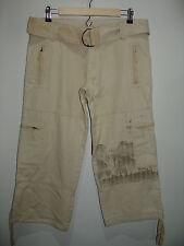 Billablong Size 9(34X24) Tan Capri/Cropped Pants Palm Trees Zip Pockets 126-8128