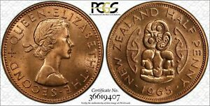 1965 NEW ZEALAND HALF PENNY PCGS MS65RD GREAT LUSTER AND DETAILS