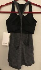 NWT Lululemon Size 8 Twist And Toil Bra Tank 2 In 1 HBLK/BLK Black Gray $68