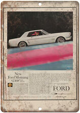 """1964 - Ford Mustand Sales Ad Dearborn Michigan - 10"""" x 7"""" Retro Look Metal Sign"""