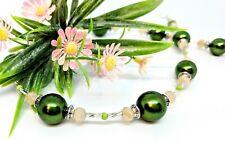 Halskette oliv grün khaki beige silber Spacer glänzend Glitzer Glas Perlen 52cm