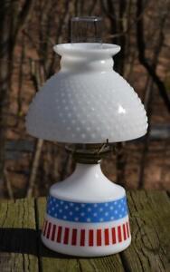 VTG Milk Glass USA Stars Stripes Flag Patriotic Kerosene Oil Lamp Hobnail Shade