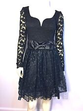NWT Vintage 80's Jessica McClintock Gunne Sax Black Lace Dress Bow Vtg Size 9/10