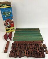 Vintage Original Lincoln Logs Set 1C Chicago IL Mixed Lot Original Can 62 Pieces
