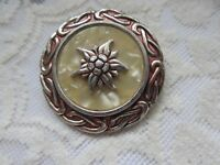 Vintage Ladies Scarf/Dress Clip With Cream Enamel & Flower Pattern