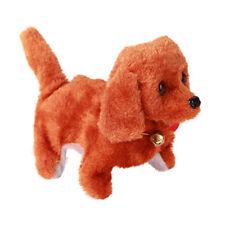 Cute Brown Plush Neck Bell Walking Barking Electronic Dog Children Kids Fun Toy