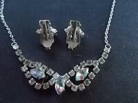 "Vintage 1960s 16"" Necklace & Clip on Earrings Set Glass Stones Costume Jewellery"