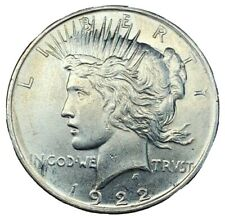1922 Peace Silver Dollar 90% AU/UNC Single - Philadelphia-