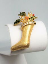 Christmas Stocking Pin Gold Tone Green Enamel Red Berries and Rhinestones Vintag