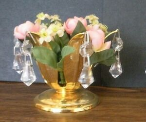 GOLD PLATED & CRYSTAL CANDLE HOLDER Flowers Drop Dangle Leaf - FREE SHIPPING