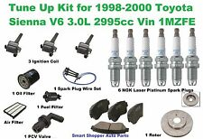 Tune Up Kit for 98-00 Toyota Sienna V6 Front Brake Pad, Spark Plug Wire Set Filt
