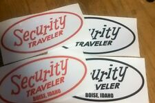 Security Traveler  Boise, Idaho vintage travel trailer decal pick color for 2