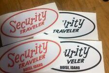 Security Traveler  Boise, Idaho vintage travel trailer decal pick color for 2