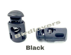 QUALITY SINGLE HOLE Spring Loaded Plastic Toggle Stopper Cord Locks End 27mm BLK