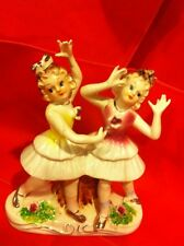 """1900 Antique statuette Germany 6 """" Girls dancing Yellow and Pink"""
