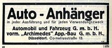 Automobil und Fahrzeug G.m.b.H. Düsseldorf Auto- Anhänger Historische Reklame