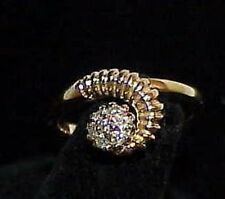 14K Diamond Space Age Modernist Cluster Ring Yellow Gold Size 6.25