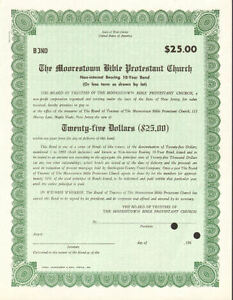 The Moorestown Bible Protestant Church > Maple Shade New Jersey bond certificate