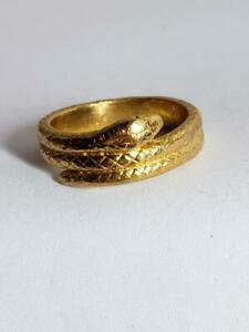 Unisex Snake Curled Ring 24K Solid Yellow Gold 12.3g Sz 8 Band 8.5mm (EL1059685)