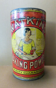 Vintage Paper label Watkins Baking Powder 1 pound tin