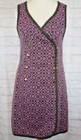 Welsh Woollen Pink Tapestry Dress Sz 36 (10) Vintage Craft Centre Mid Wales Wool