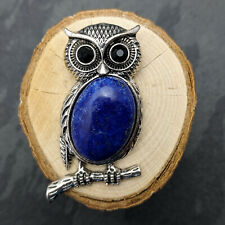 Antique Silver Tone Owl Lapis Lazuli Pendant Necklace On Silver Plated Necklace