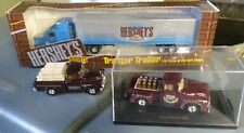 3x Hershey's Diecast Trucks '56 Ford And Tractor/Trailer Semi. 1:64 1:43