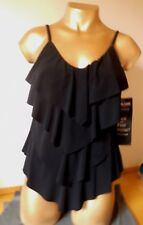 Gorgeous Padded/Slimming Black Tankini Top -  Size 12 - By Kirkland Miraclesuit