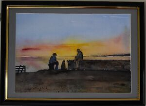 Original Watercolour Painting - Two men and a dog, Sunset