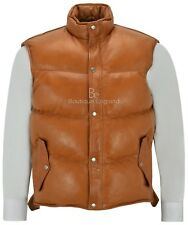 Men's Puffer Leather Waistcoat Tan Padded Lambskin Leather Casual Vest Style